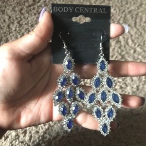 Blue and silver statement earrings